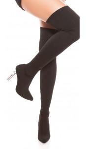 Sexy Overknees boots block heel transparent Black