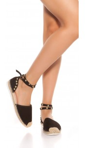 Trendy Espadrilles with straps and studs Black