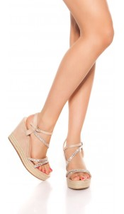 Sexy wedge heel sandals with rhinestones Beige