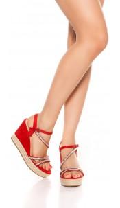 Sexy wedge heel sandals with rhinestones Red