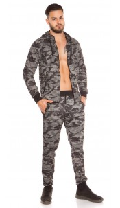 Trendy Men Sweat Jacket and Joggers SET Khaki