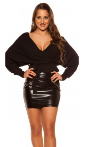 Sexy V-Cut crop rib long sleeve shirt with belt Black