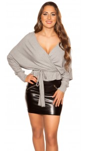 Sexy V-Cut crop rib long sleeve shirt with belt Grey