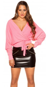 Sexy V-Cut crop rib long sleeve shirt with belt Neonfuchsia