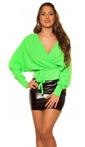Sexy V-Cut crop rib long sleeve shirt with belt Neongreen