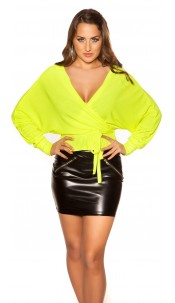 Sexy V-Cut crop rib long sleeve shirt with belt Neonyellow