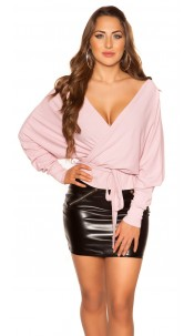 Sexy V-Cut crop rib long sleeve shirt with belt Pink