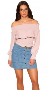 Sexy Off Shoulder Shirt Antiquepink