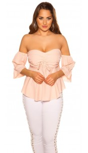 Sexy off shoulder top with flounce Pink