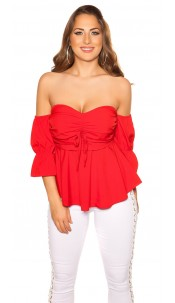 Sexy off shoulder top with flounce Red