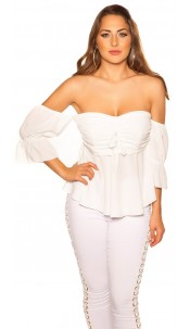 Sexy off shoulder top with flounce White