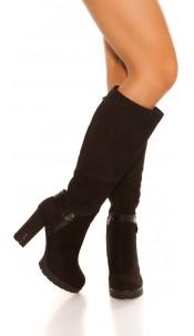 Trendy suede look boots block heel Black