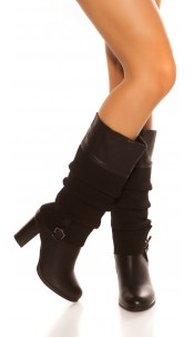 Trendy boot with cuff look Black