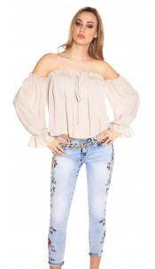Sexy Carmen long sleeve shirt Beige