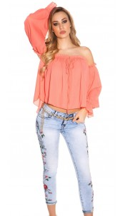 Sexy Carmen long sleeve shirt Coral