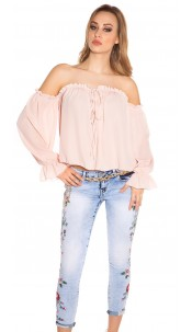 Sexy Carmen long sleeve shirt Pink