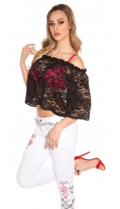 Sexy Carmen lace shirt Black