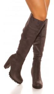 Sexy block heel boots suede look Anthracite