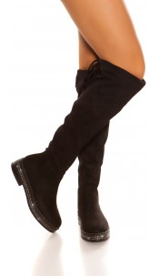 Trendy suede look boots with rhinestones Black