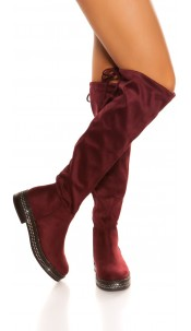 Trendy suede look boots with rhinestones Bordeaux