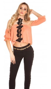 Sexy Neck Carmen Shirt with Embroidery Coral