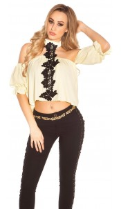 Sexy Neck Carmen Shirt with Embroidery Yellow