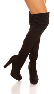 Sexy overknee suede look boots Black