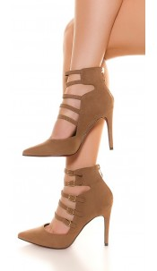 Sexy high heels with sexy buckle Cappuccino
