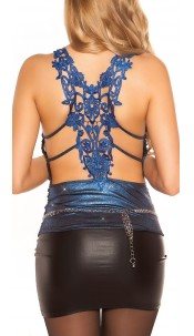 Sexy KouCla Partytop with embroidery Blue