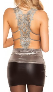 Sexy KouCla Partytop with embroidery Grey