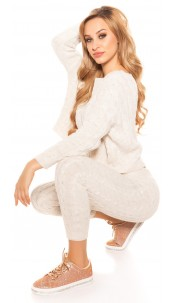Trendy Roughknit home suit (SET Jumper & Pants!) Cream