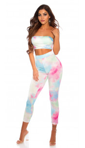 Sexy Matching-Set with Watercolor Print Pink