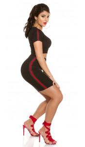 Sexy BasicSet Crop Shirt & Skirt Black