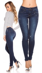 Sexy skinny Jeans with metal plates Jeansblue