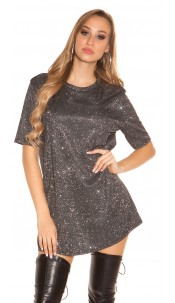 Trendy LeT s PaRTY glitter shirt dress Silver