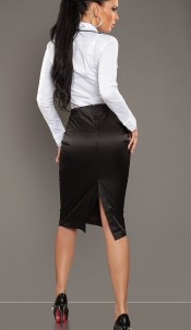 Sexy Business-skirt with buttons and zip Black