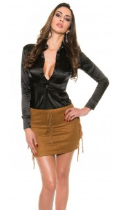 Sexy mini skirt in suede look and fringes Bronze