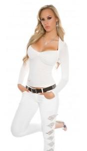 Sexy Koucla Bolero-longsleeve shirt with lace White
