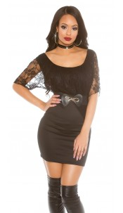 Minidress with lace and waistbelt Black
