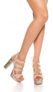 Sexy glitter block heel sandal Beige
