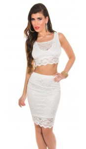 Sexy KouCla lace skirt and top White