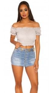 Sexy Crop Carmen Shirt Grey
