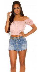 Sexy crop carmen shirt roze