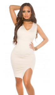 Sexy KouCla Midi gown with slit Beige