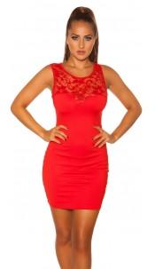 Sexy KouCla mini dress with lace Red