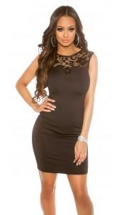 Sexy KouCla Sheath Dress with Lace Black