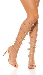 Sexy All OVer Strappy High Heels with rhinestones Champagne