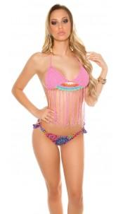 Sexy crochet bikini with brazilian style panties Fuchsia