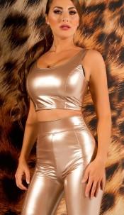 Sexy KouCla Latex Look Crop Top Gold