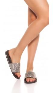 Trendy slippers with rhinestones Black